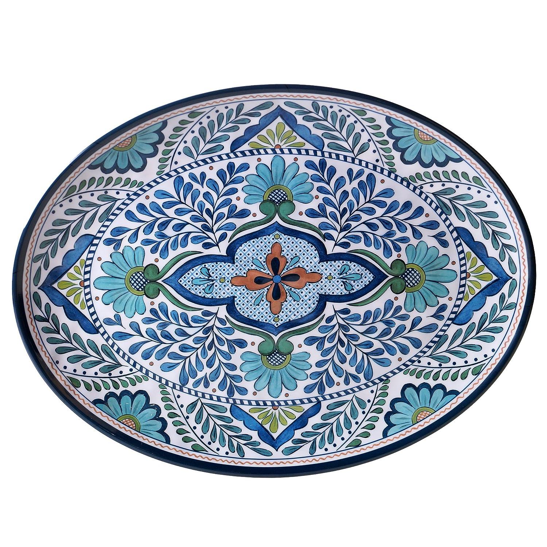 Certified International Talavera Melamine 18 x 13.5 Oval Platter, Multicolor 20290