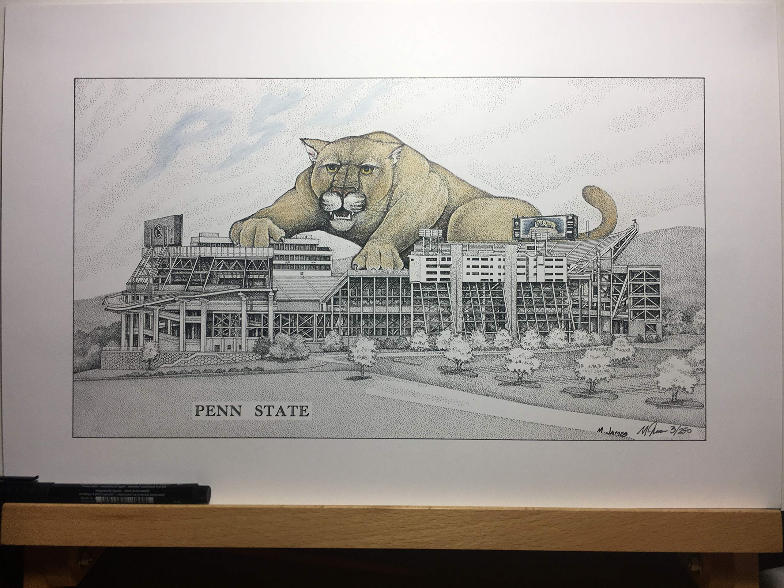 Penn State football stadium with hand-colored lion-11''x17'' pen & ink drawing
