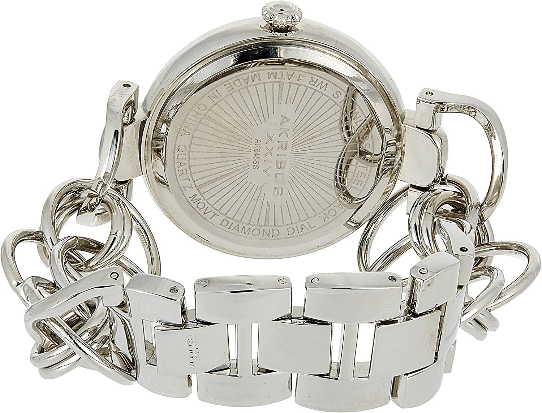 Akribos XXIV Women's Lady Diamond Watch - 14 Genuine Diamonds On a Mother-of-Pearl Dial with Chain Link Bracelet Watch - AK645 Stainless Steel