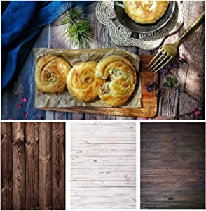 Shengzkc Wood Food Photography Background Paper 3 Pcs 21x33inch Flat Lay Photo Backdrop Double Sided for Tabletop Product Cosmetic Blogger Pictures Props Jewelry,6 Patterns