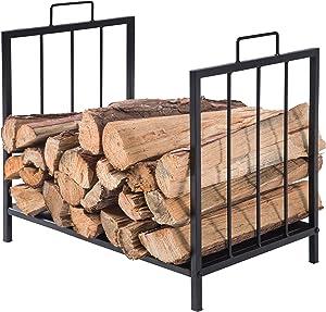 MyGift Compact Firewood Rack, Wood Log or Kindling Holder, Metal Fireplace Organizer, Black
