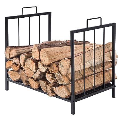 compact firewood rack wood log or kindling holder metal fireplace organizer black - Firewood Rack