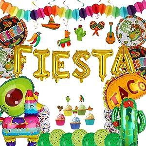 Fiesta Letter Banner Balloons Mexico Taco Llama Cactus Avocado Mylar Foil Balloon Latex Balloon Birthday Mexican Fiesta Theme Party Cupcake Toppers & Swirls Hanging Garland String Decor Kit 35 Pcs