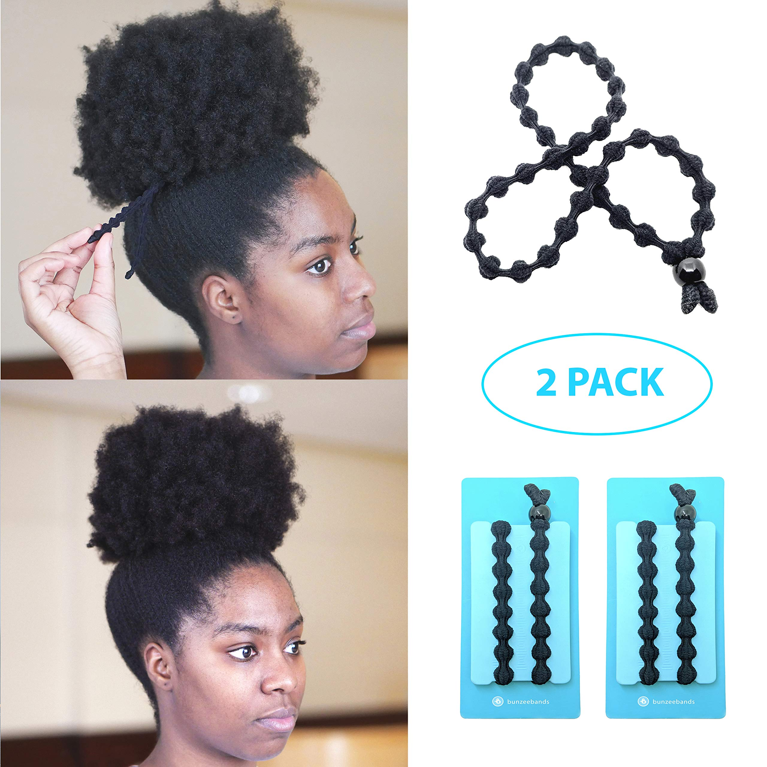 Bunzee Bands - NEW Ultimate Headband Hair Tie for Thick Heavy Natural Kinky & Curly Hair. Adjustable Sizing for the Perfect Ponytail, Hair Bun, High Puff and Updos - PATENT PENDING (2 Pack, Black) by Bunzee Bands