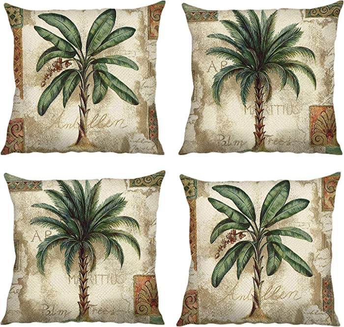 Bonhause Tropical Palm Tree Throw Pillow Covers 18 x 18 Inch Set of 4 Vintage Green Decorative Throw Pillow Cases Cotton Linen Square Cushion Covers for Sofa Couch Car Bedroom Home Décor
