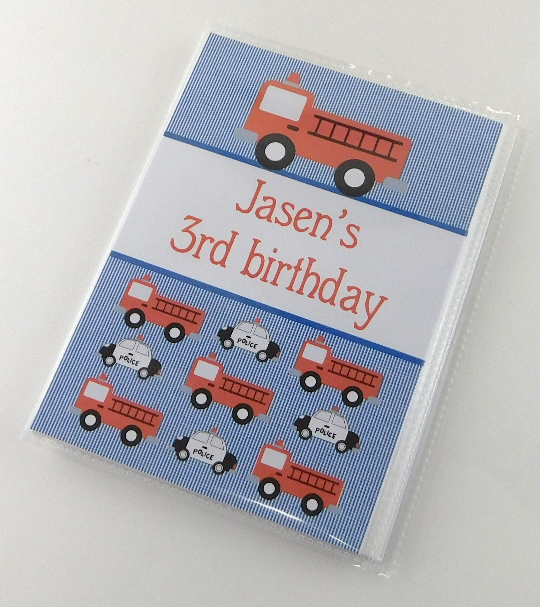 Boy Photo Album with Name IA#725 Personalized Birthday Gift 4x6 or 5x7 Picture Red Fire Truck Firetruck
