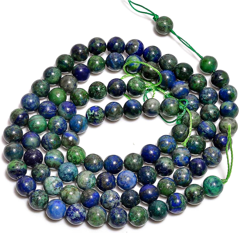 8mm Piedras preciosas sueltas de Azurita natural perlas redondas lisas semipreciosas para la fabricación de joyas Cuentas de gran agujero Collar piedras preciosas Pulsera de piedras preciosas