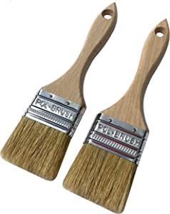 Set of 2 2 inch European Professional Paint Brushes - Natural Bristle/Wood Handle - for Paint Job with Acrylic, Chalk, Oil Based, Latex, Stain, Watercolor, Wax, Varnish Paints. (2Pack 2