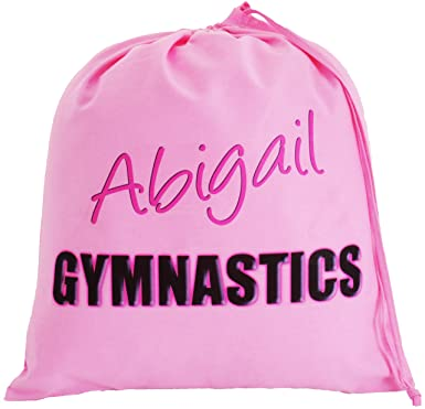 106fb9d4f28f Personalised - Pink Gymnastics Bag - Large Cotton Drawstring Bag - PE Kit   Amazon.co.uk  Clothing