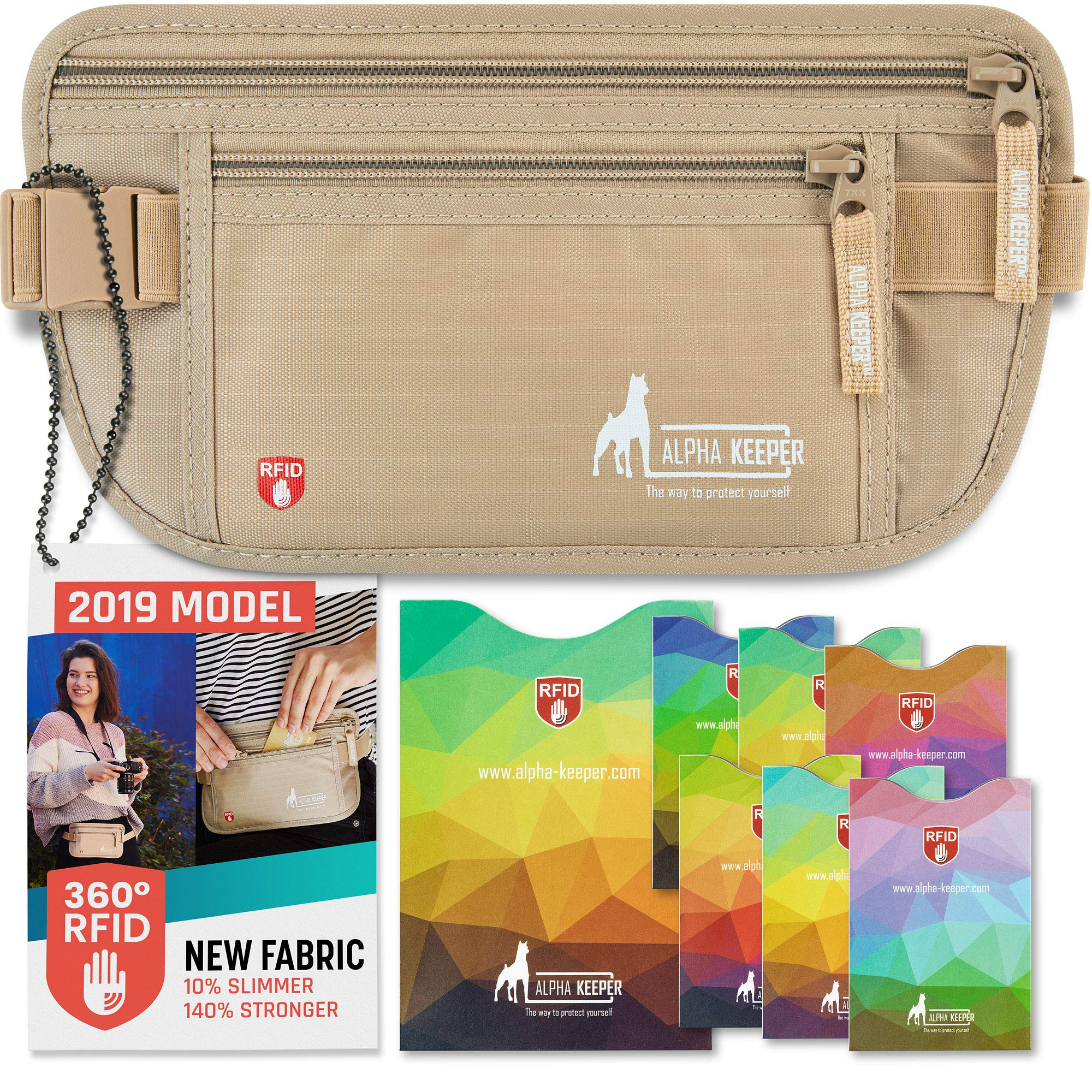 RFID Money Belt For Travel With RFID Blocking Sleeves Set For Daily Use [2019 NEW MODEL] by Alpha Keeper