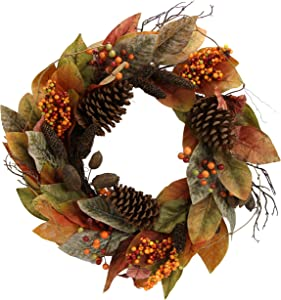"Admired By Nature GFW7014-Natural 24"" Faux Magnolia Leaf Vine Pinecones Berry Wreath"