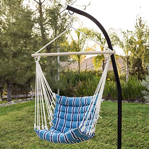 KOVALENTHOR 40in Indoor Outdoor Padded Cotton Hammock Hanging Chair