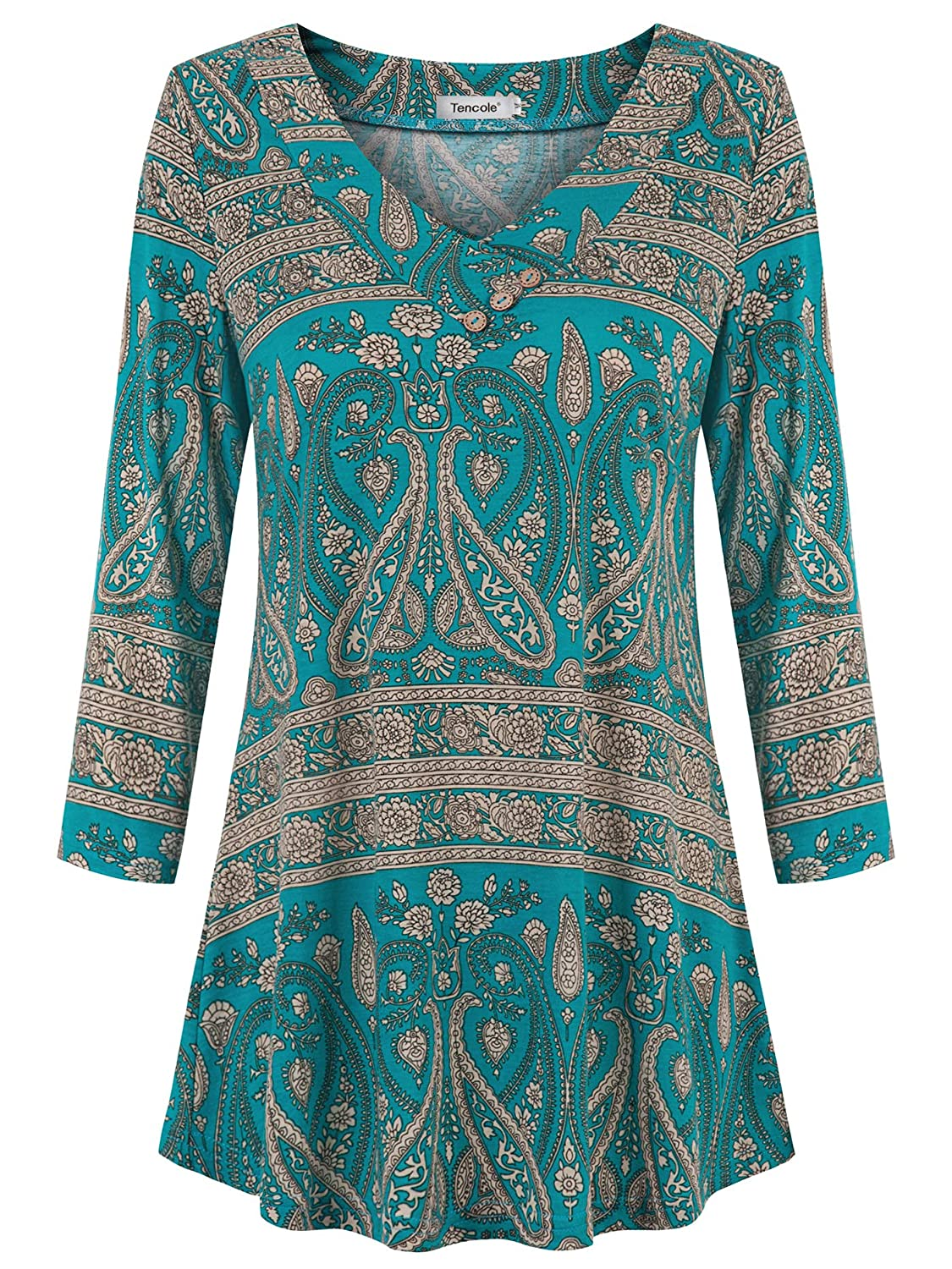 Tencole Womens 3 4 Sleeve V Neck Casual Tops Dressy Floral Buttons Tunic Blouse