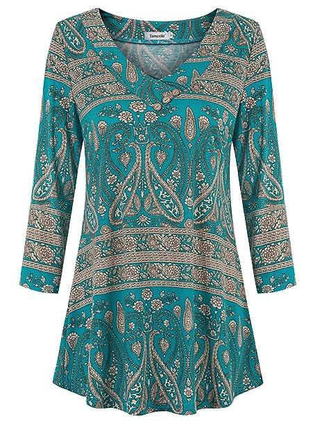 Amazon.com: Tencole - Blusa de túnica con botones florales y ...