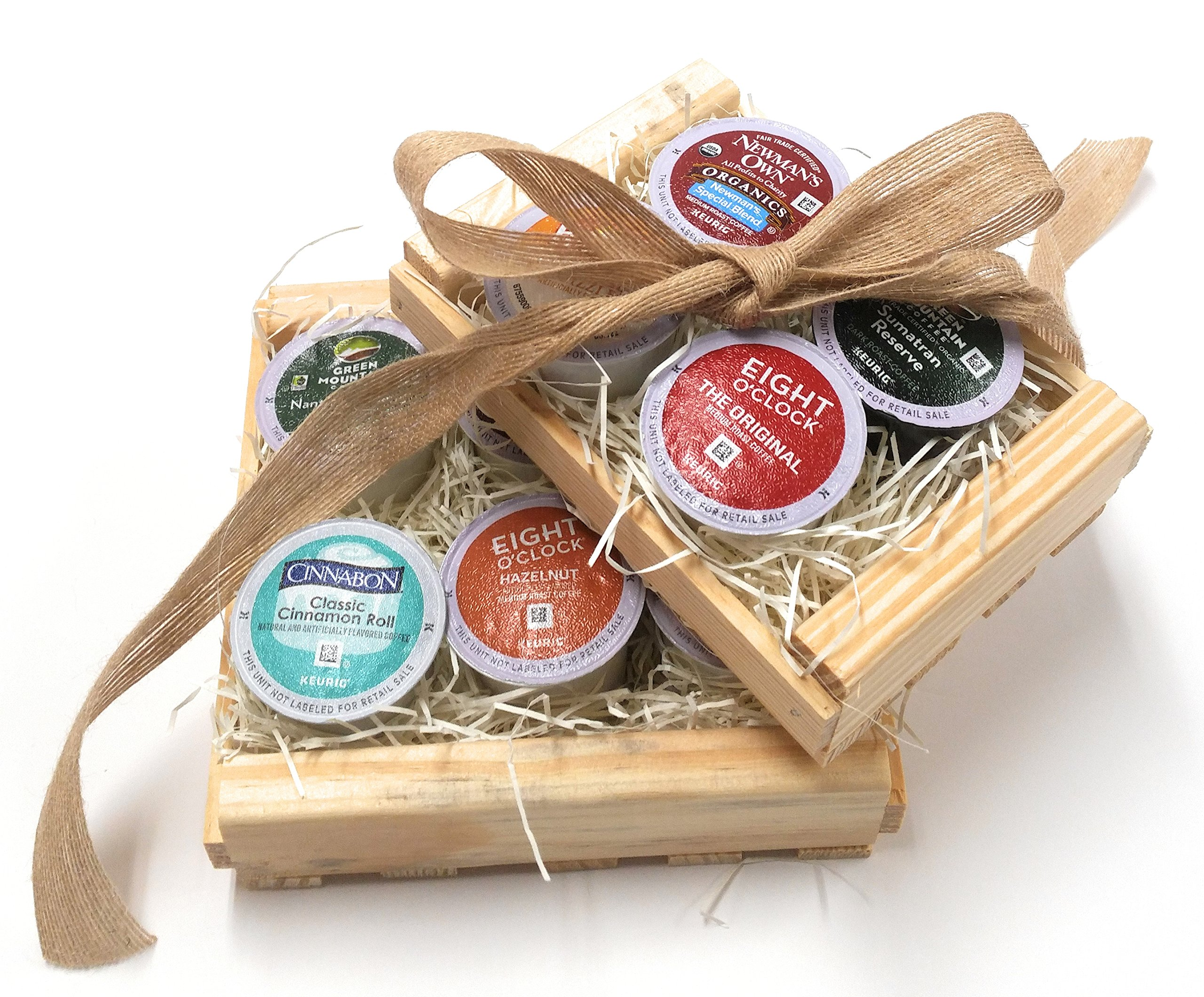K-Cup Coffee Gift Basket- K-Cup Sampler Pack In Natural Wood Crate-10 K-Cups...