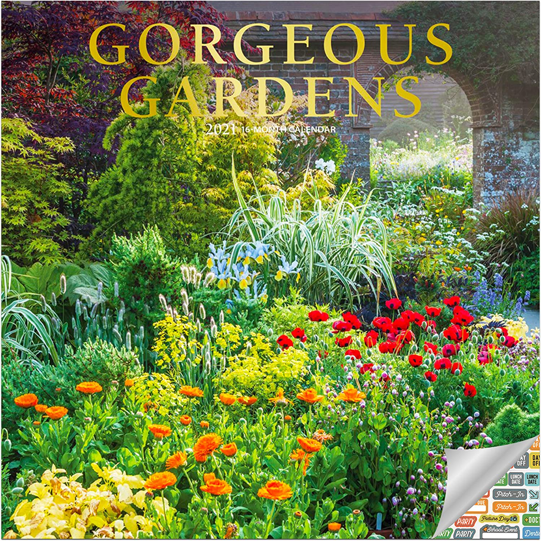 Gorgeous Gardens Calendar 2021 Bundle - Deluxe 2021 Gardens Wall Calendar with Over 100 Calendar Stickers (Gardening Gifts, Office Supplies)
