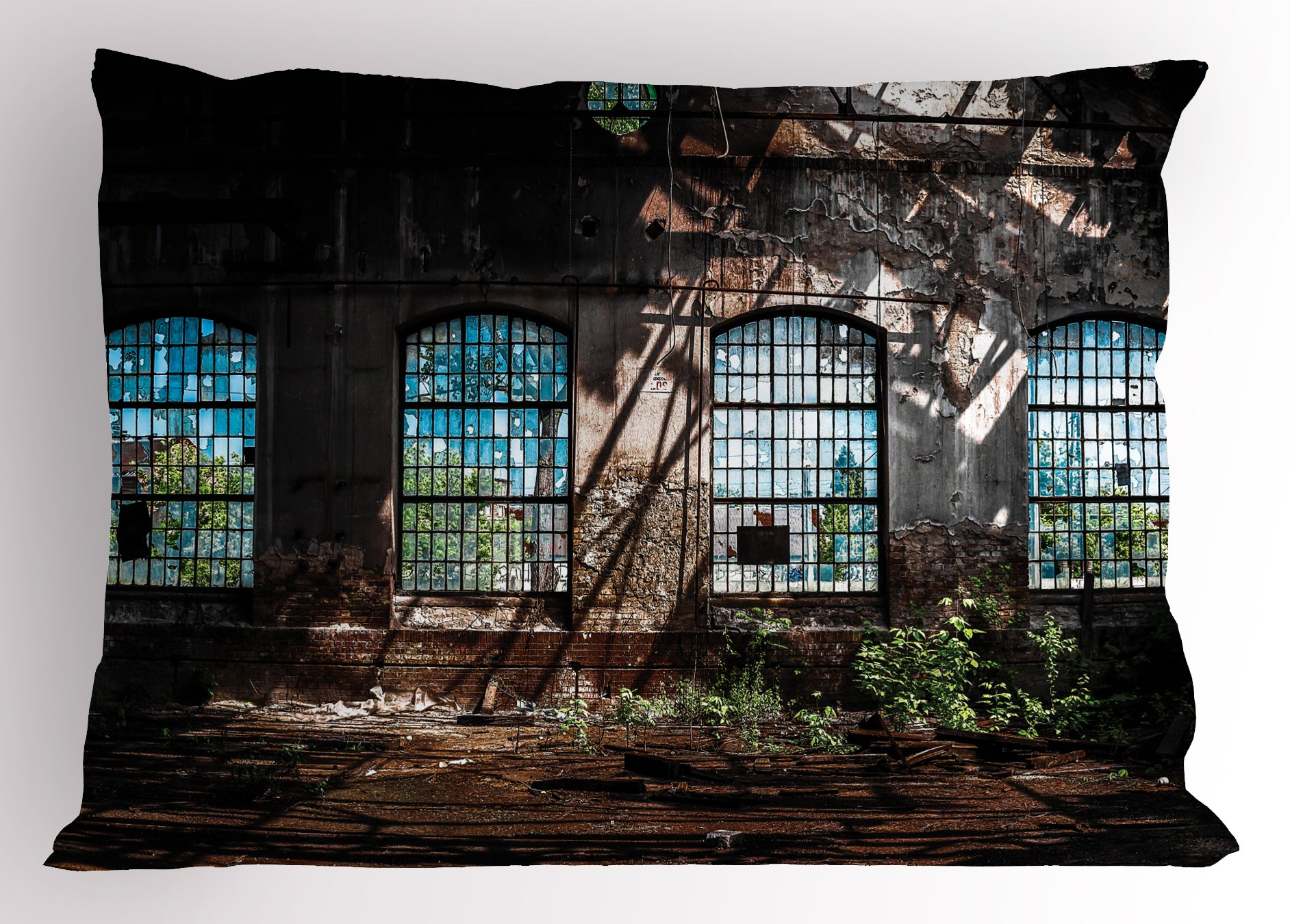 Ambesonne Industrial Pillow Sham, Industrial Interior with Tall Old Windows Ruins Hallway Station Shadow, Decorative Standard Queen Size Printed Pillowcase, 30 X 20 inches, Brown Blue Green