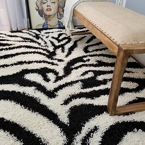 Shag Area Rug 5x7 | Zebra Black Ivory Shag Rugs for Living Room Bedroom  Nursery Kids College Dorm Carpet by European Made MH10 Maxy Home