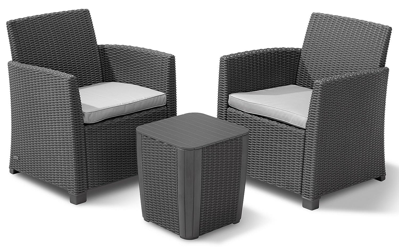 allibert 223817 lounge set corona balcony 2 sessel 1 tisch rattanoptik kunststoff graphit. Black Bedroom Furniture Sets. Home Design Ideas