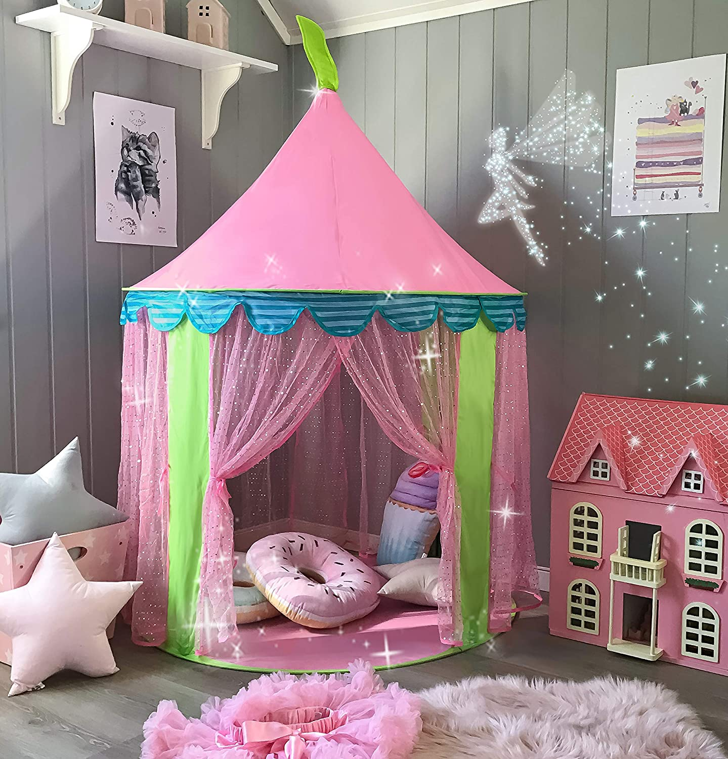 Princess Castle Play Tent for Girls Indoor Outdoor Use By Tiny Land プリンセスのお城 子供用テント【US輸入品】 B01DAFEM1O