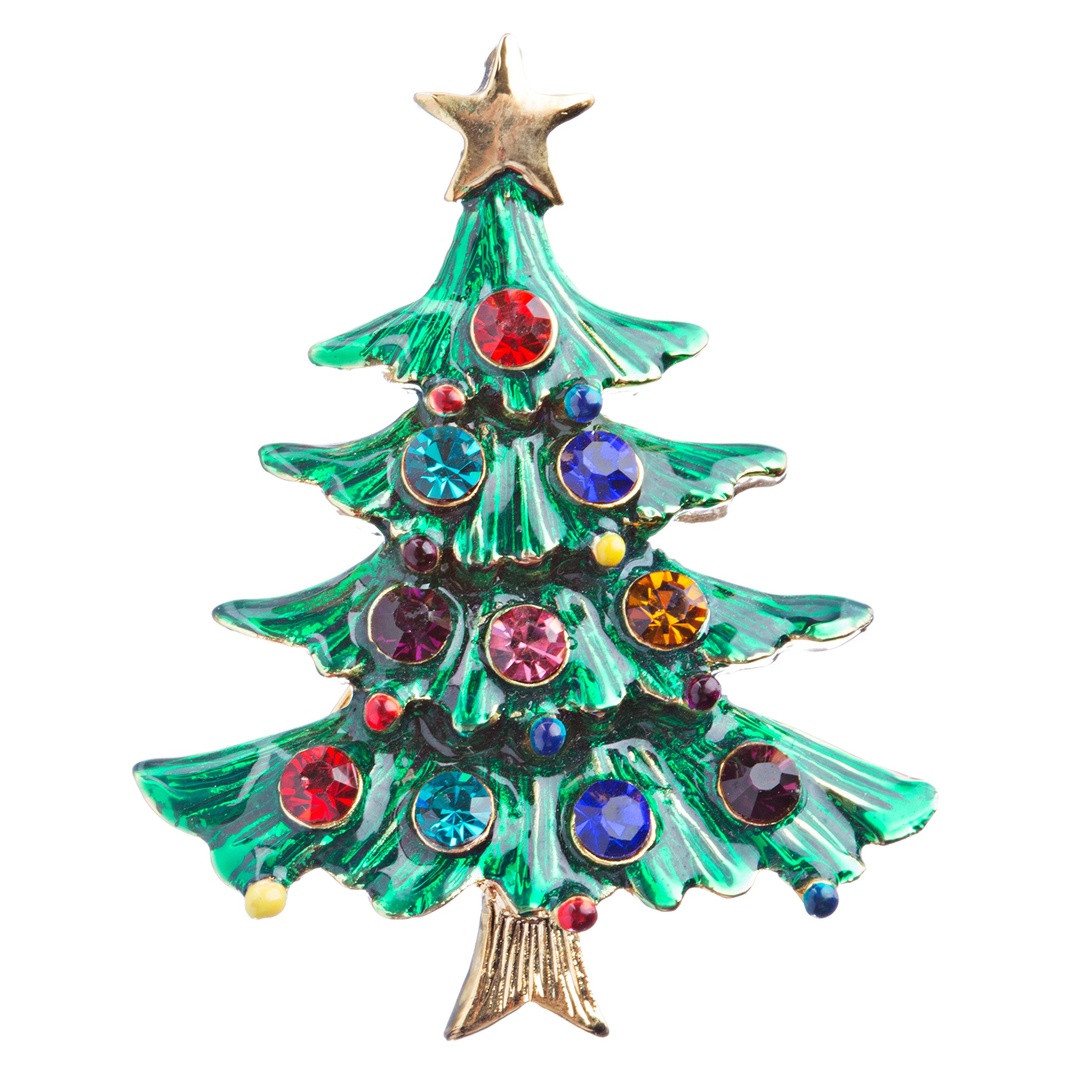 ACCESSORIESFOREVER Women Christmas Jewelry Crystal Rhinestone Dazzle Tree Charm Brooch Pin BH118 Green