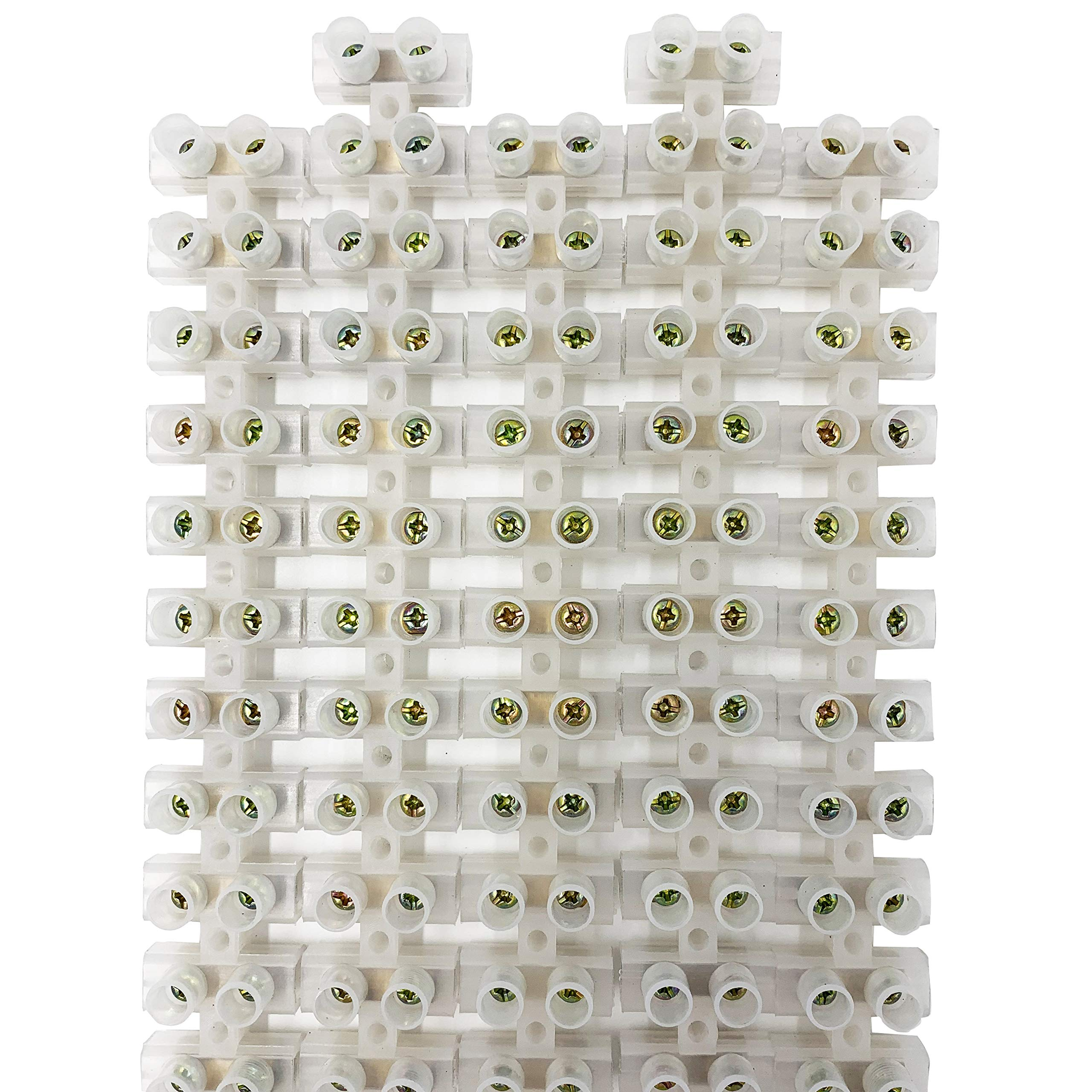 Terminal Block, PUSU Dual Row Terminal Barrier Strip, Euro Terminal for 25mm2 Wire Gauge, 12-Position 60Amp 380V (Pack of 5)