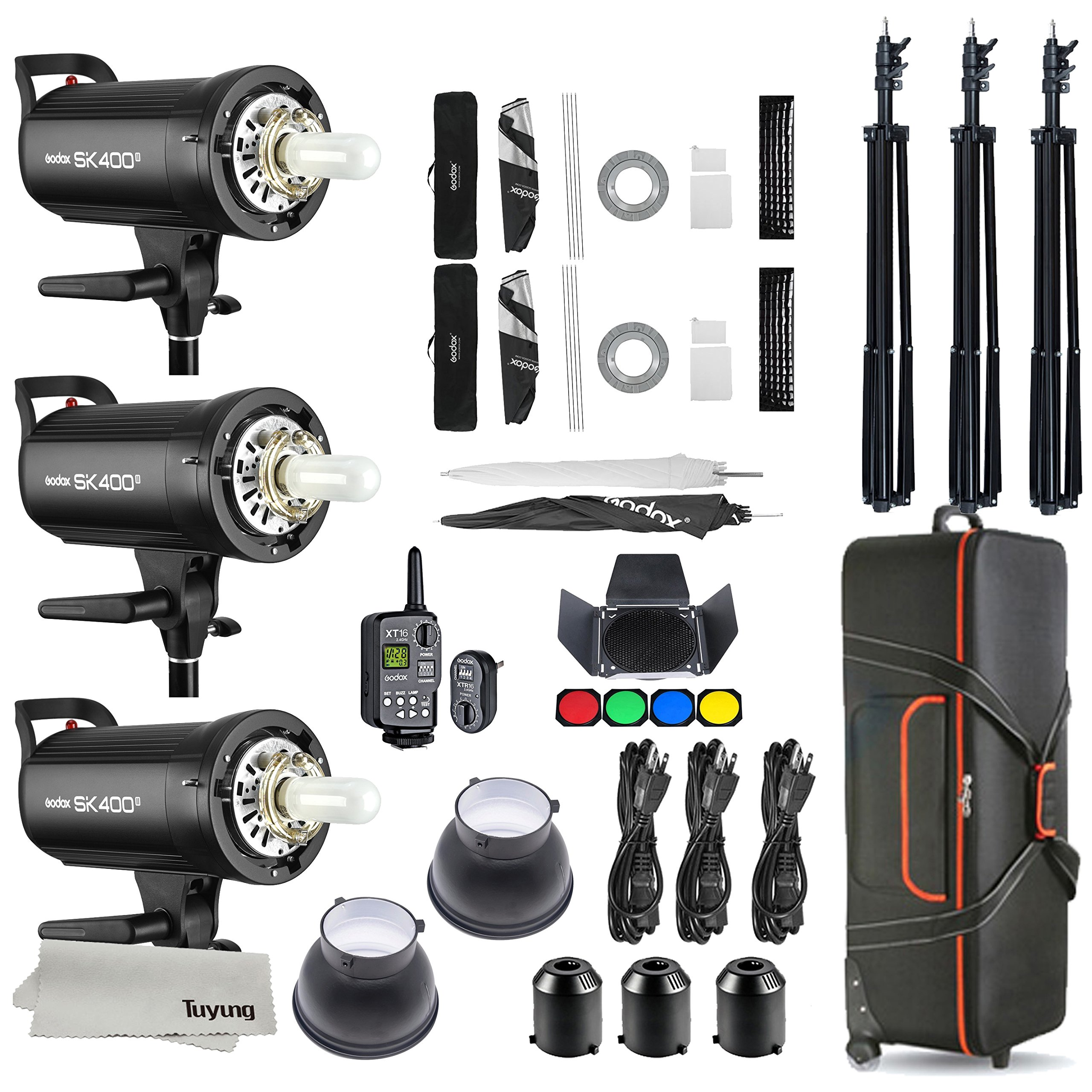 Godox SK400II 3 x 400Ws 2.4G Bowens Mount Strobe Flash Kits for Photography Lighting Portrait Photography - Light Stands, Softbox, Barn Door, Umbrella, Wireless Trigger, Carrying Case Accessory Kits by Godox