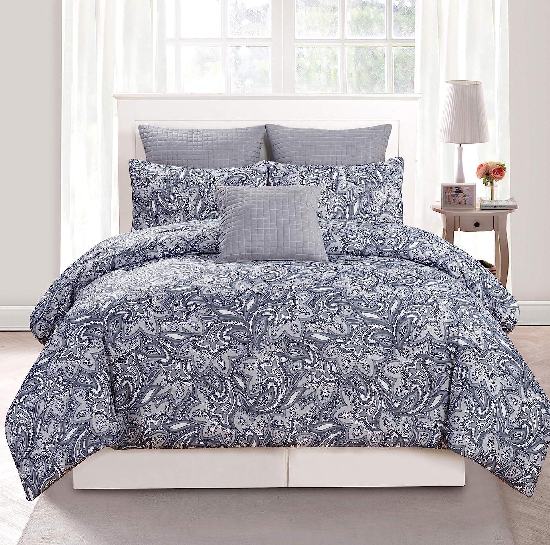 Floral Collection 10 Piece Set Queen Size Taupe Duck River Textiles MATHYLDA 11250D=1 Duck River Textile Mathylda Hotel Quality Luxury Comforter Duvet Insert Cover Hypoallergenic