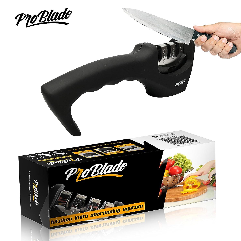 amazon com pro blade 3 stage professional kitchen knife sharpener