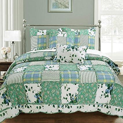 Patchwork Quilt Bedding Sets.Cozy Line Home Fashions Greenfields Real Patchwork Quilt Bedding Set 3d Green Garden Lace Leaf Flower Printed 100 Cotton Reversible Bedspread