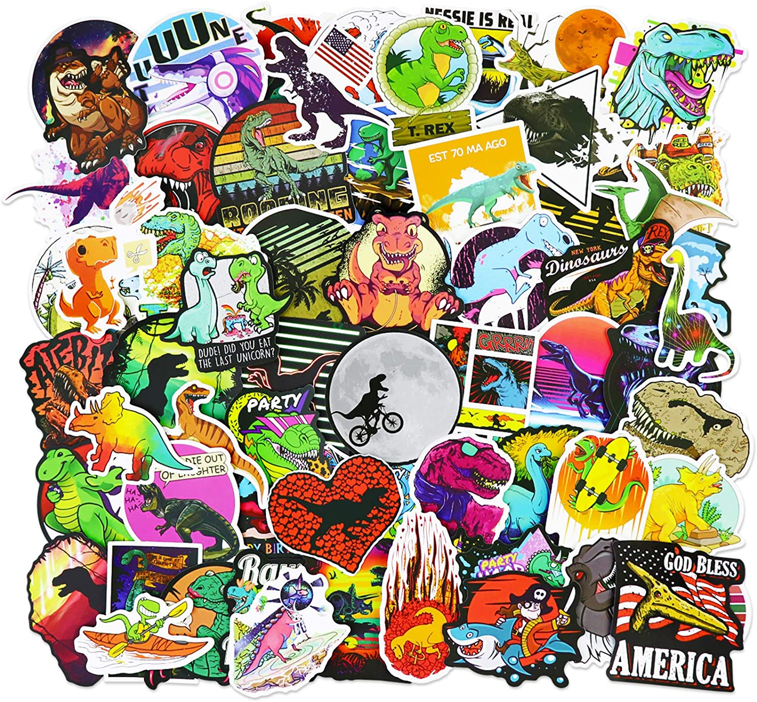 Dinosaur Park Stickers Waterproof Decals for Water Bottle, Laptops, Bike, Skateboard, Party Supplies, 100pcs Per Pack