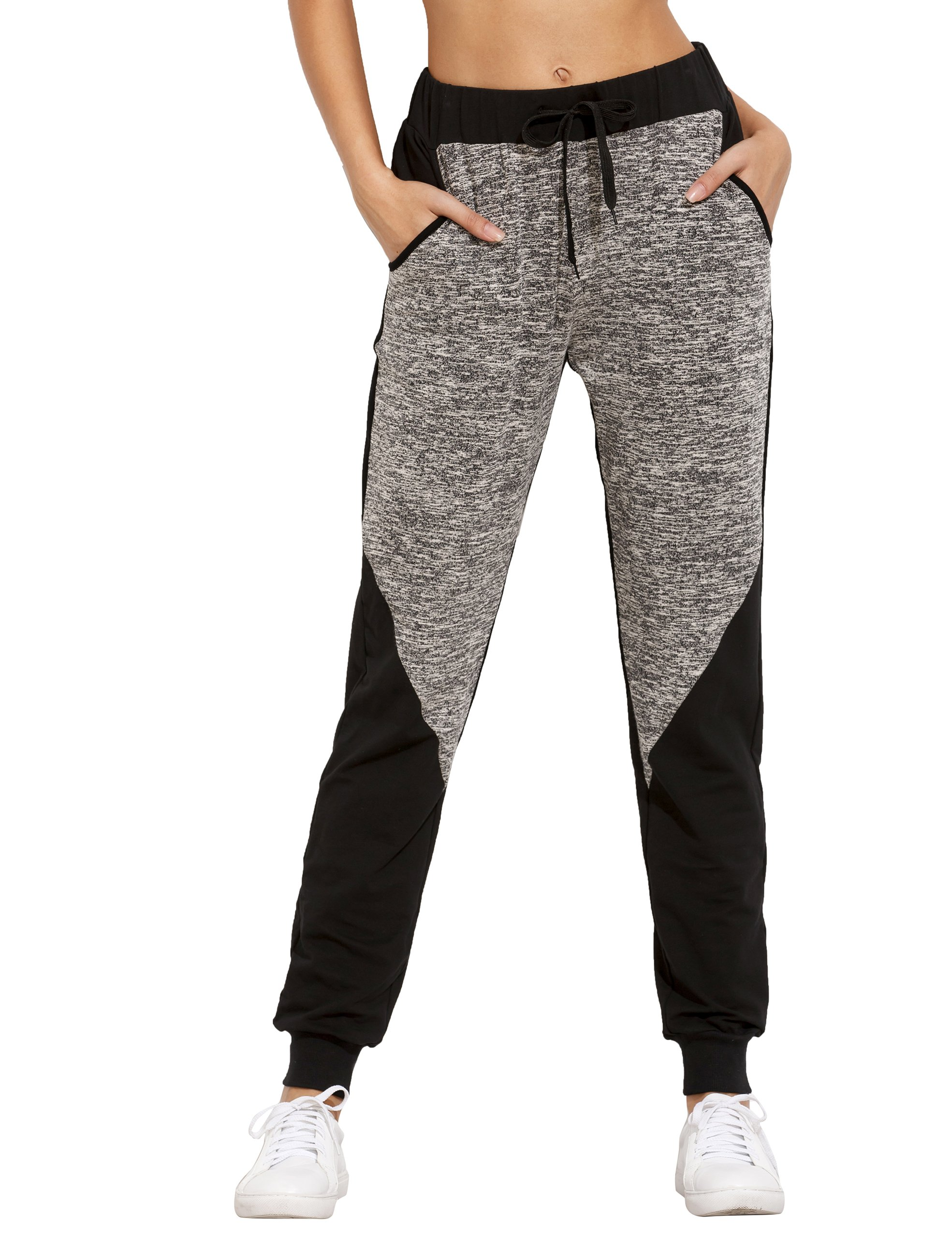 SweatyRocks Women Pants Colorblock Casual Tie Waist Yoga Jogger Pants, Black Grey Colorblock, Medium