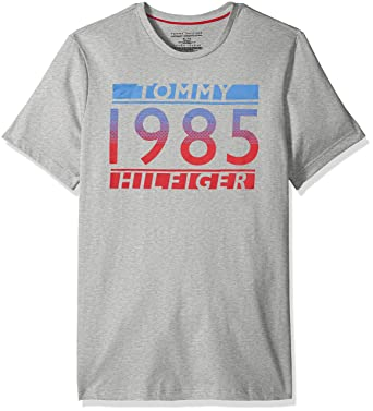 5b972a1d Tommy Hilfiger Men's Short Sleeve Crew Neck Graphic T-Shirt, Grey Heather/ Tommy