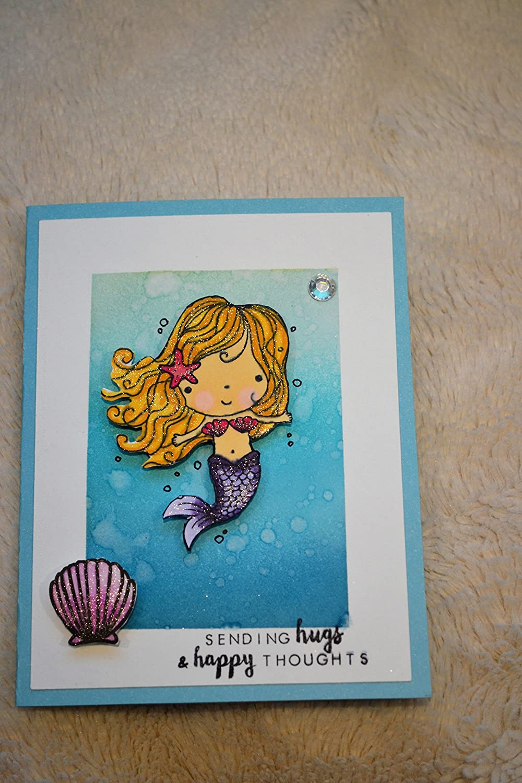 miss you card Handmade hello card happy birthday card Thank you card wish you the best card love you card mermaid handmade card.