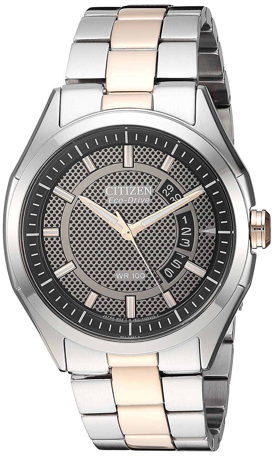 Amazon.com  Drive from Citizen Eco-Drive Men s Silver Rose Gold-Tone Watch  with Date b4ef8254bc0b