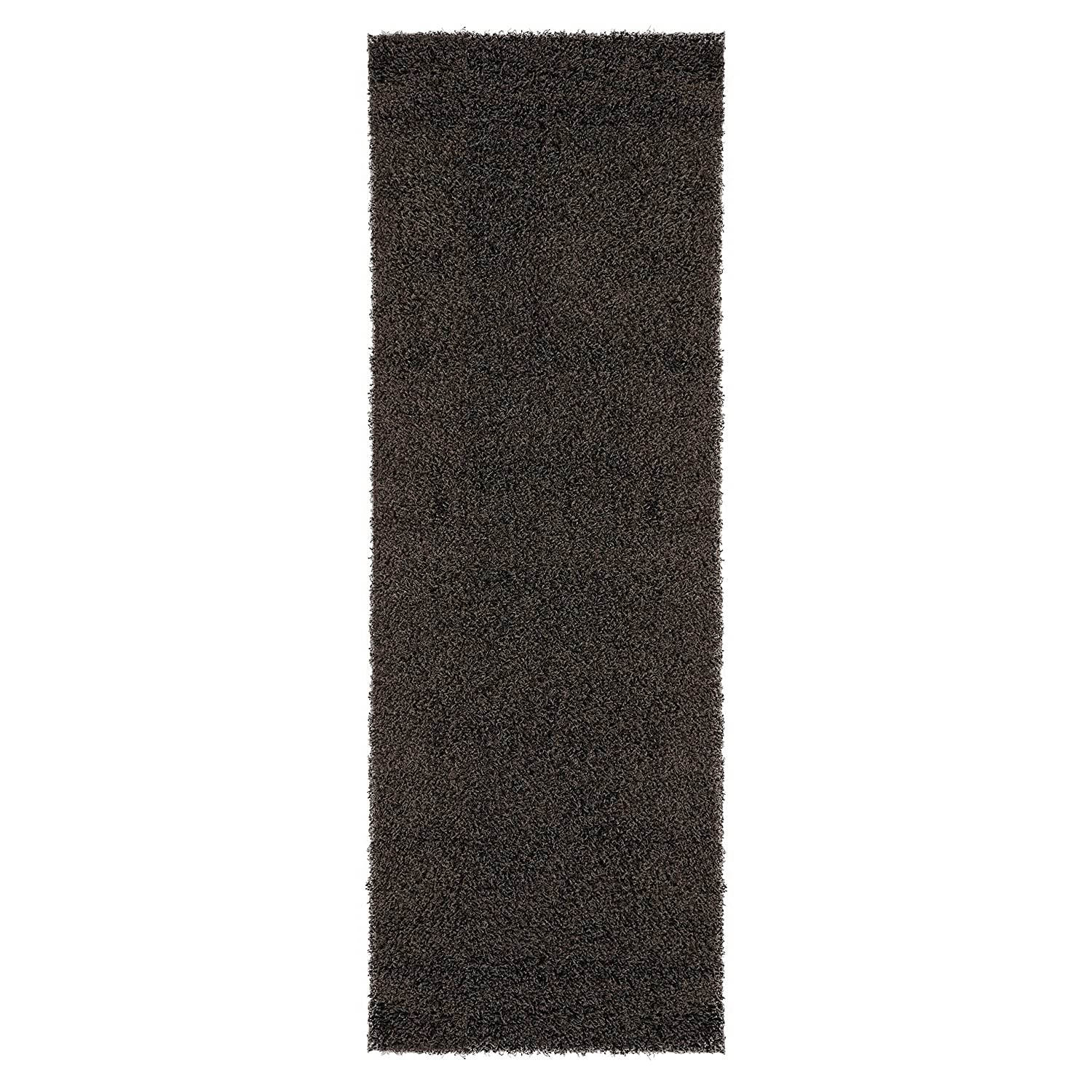 Ottomanson Soft Cozy Color Solid Shag Runner Rug Contemporary Hallway and Kitchen Shag Runner Rug Beige 27L X 80W