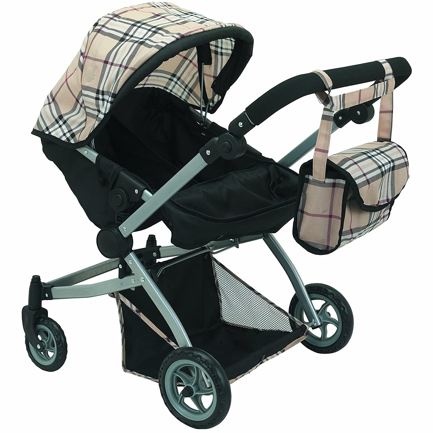 Adjustable Handle Babyboo Deluxe Twin Doll Pram Foldable Doll Stroller with Swiveling Wheels 9651A Basket Convertible Seat,and Free Carriage Bag Beige /& Black Plaid Multi Function