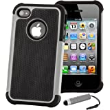 32nd® Shock Proof dual defender case cover for Apple iPod Touch 5 (5th generation) + screen protector, cleaning cloth and stylus pen - Grey
