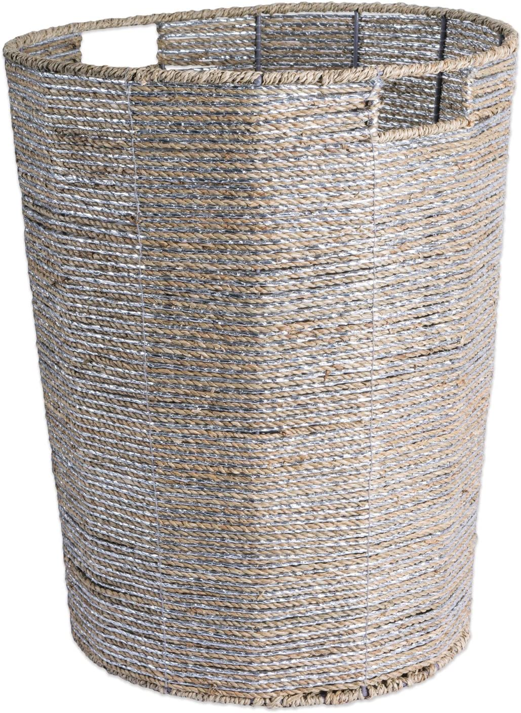 "DII CAMZ37612Decorative Woven Seagrass Laundry Hamper with Metallic for Bathroom & Home Organization Solutions to Enhance Décor & Add Functionality (Round Hamper - 16x20"") Silver"