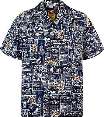 Pacific Legend | Original Camisa Hawaiana | Caballeros | S - 4XL | Manga Corta | Bolsillo Delantero | Estampado Hawaiano | Piscis | Tortugas | Guitarras | Azul: Amazon.es: Ropa y accesorios