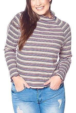 05b7c61b33318 Women s Junior Plus Size Turtle Neck Striped Top with Lettuce Edge Off  White 1X