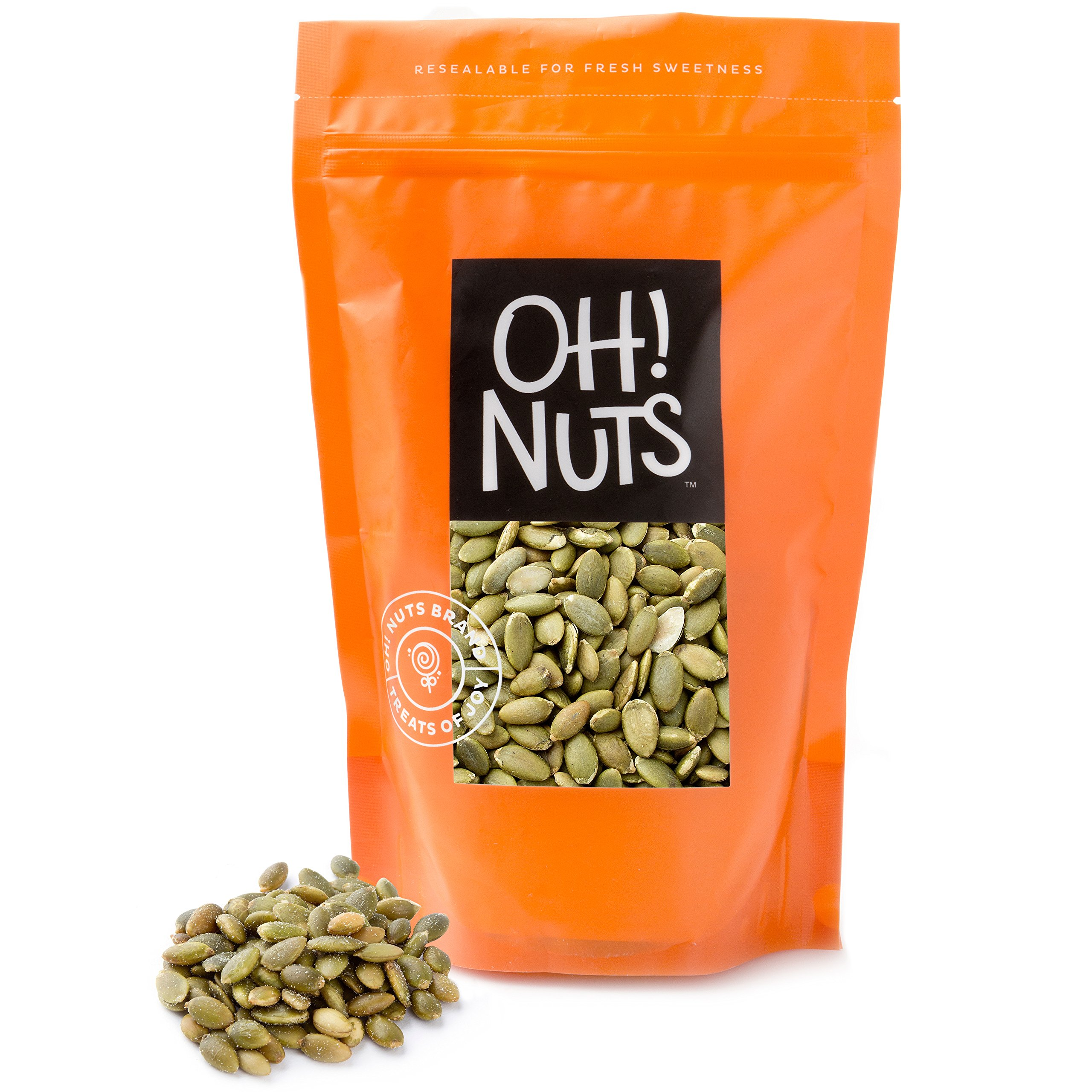 2LB Pumpkin Seeds Roasted Salted, Pepitas Roasted Salted Great for Healthy Snacking or Salad Toppings No Shell 2 LB - Oh! Nuts by Oh! Nuts