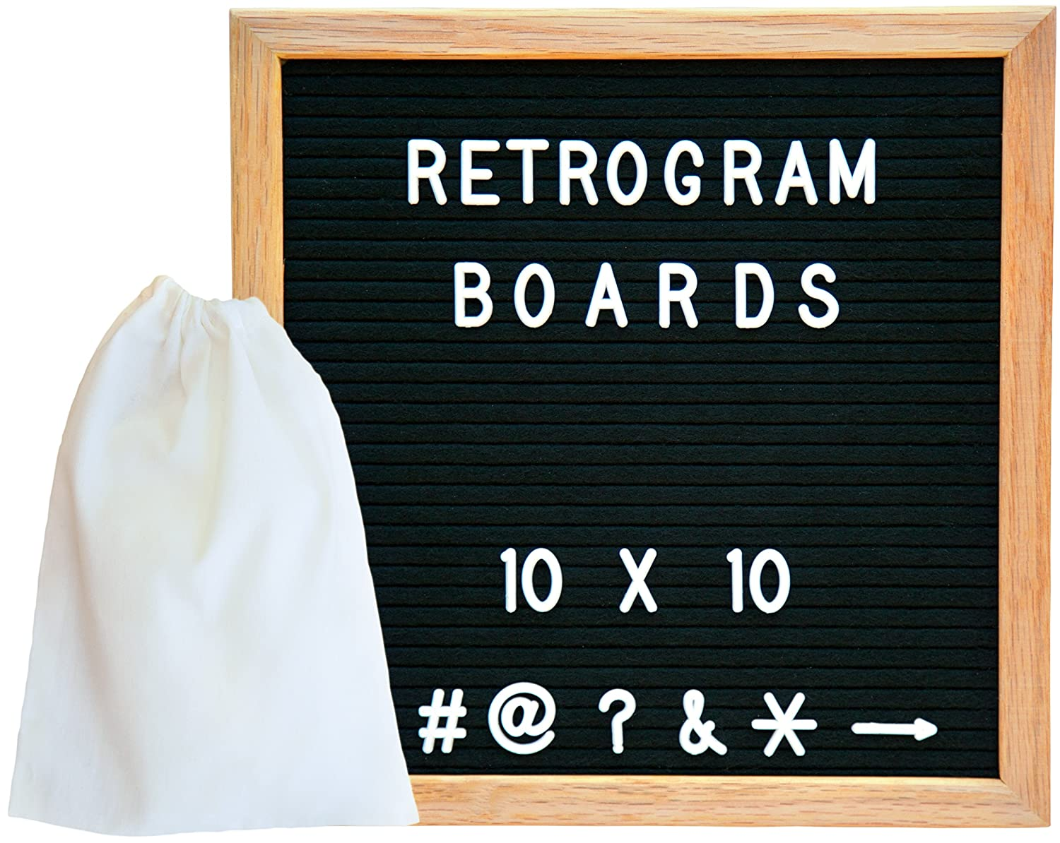 Vintage Felt Changeable Letter Board: 10x10 Inches Oak Wood Frame with 290 ¾ Inch Helvetica White Letters, Numbers and Punctuation, Mounting Hook, High Quality Construction, Plus Free Letter Bag Retrogram Boards RG10X10BLK-34WL