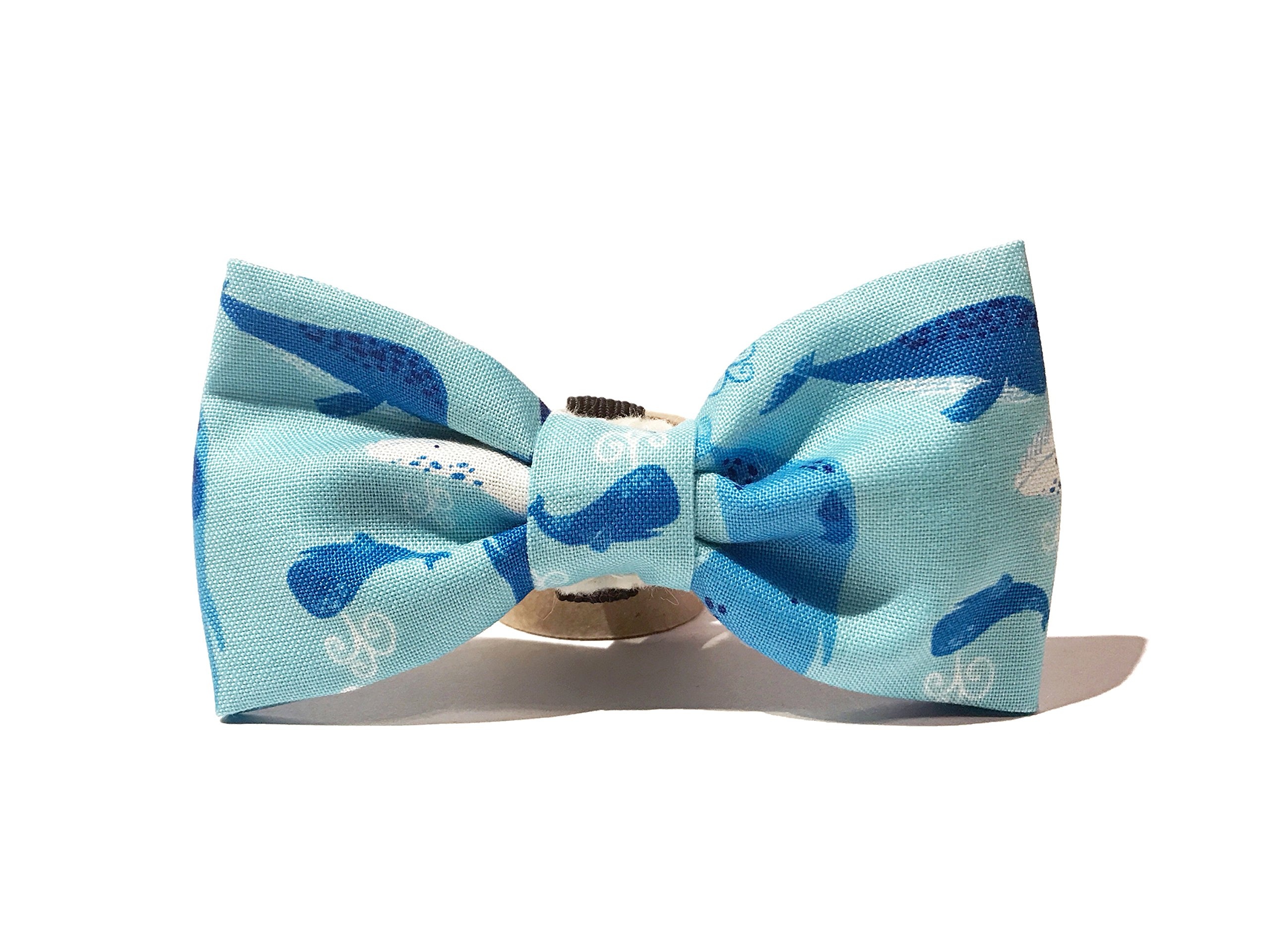 Very Vintage Design Dog Cat Collar Bow Tie Blue Whale Nautical & Preppy Summer Fun Light Blue Whales Narwhals Hand Crafted Collection Organic Cotton Personalized Adjustable Pet Bowtie