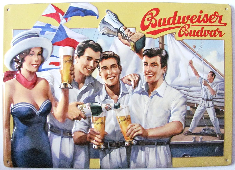 Budweiser Cerveza Cartel de Chapa - Barco Zene Barco segeln ...