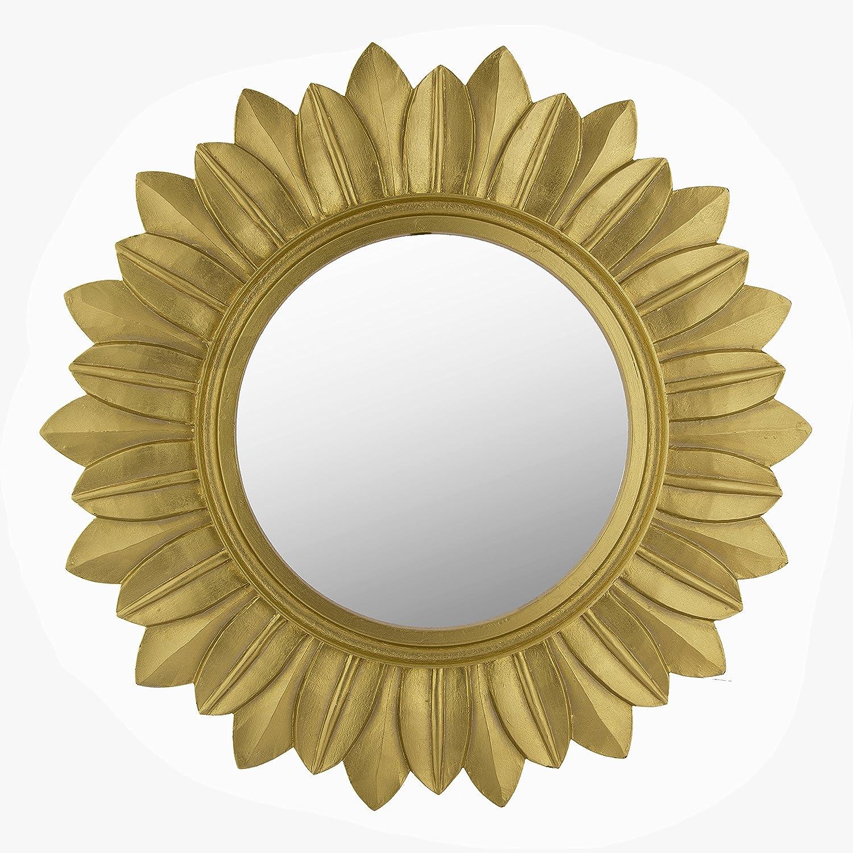 Buy Homesake Sunburst Decorative Wooden Handcarved Wall Mirror ...