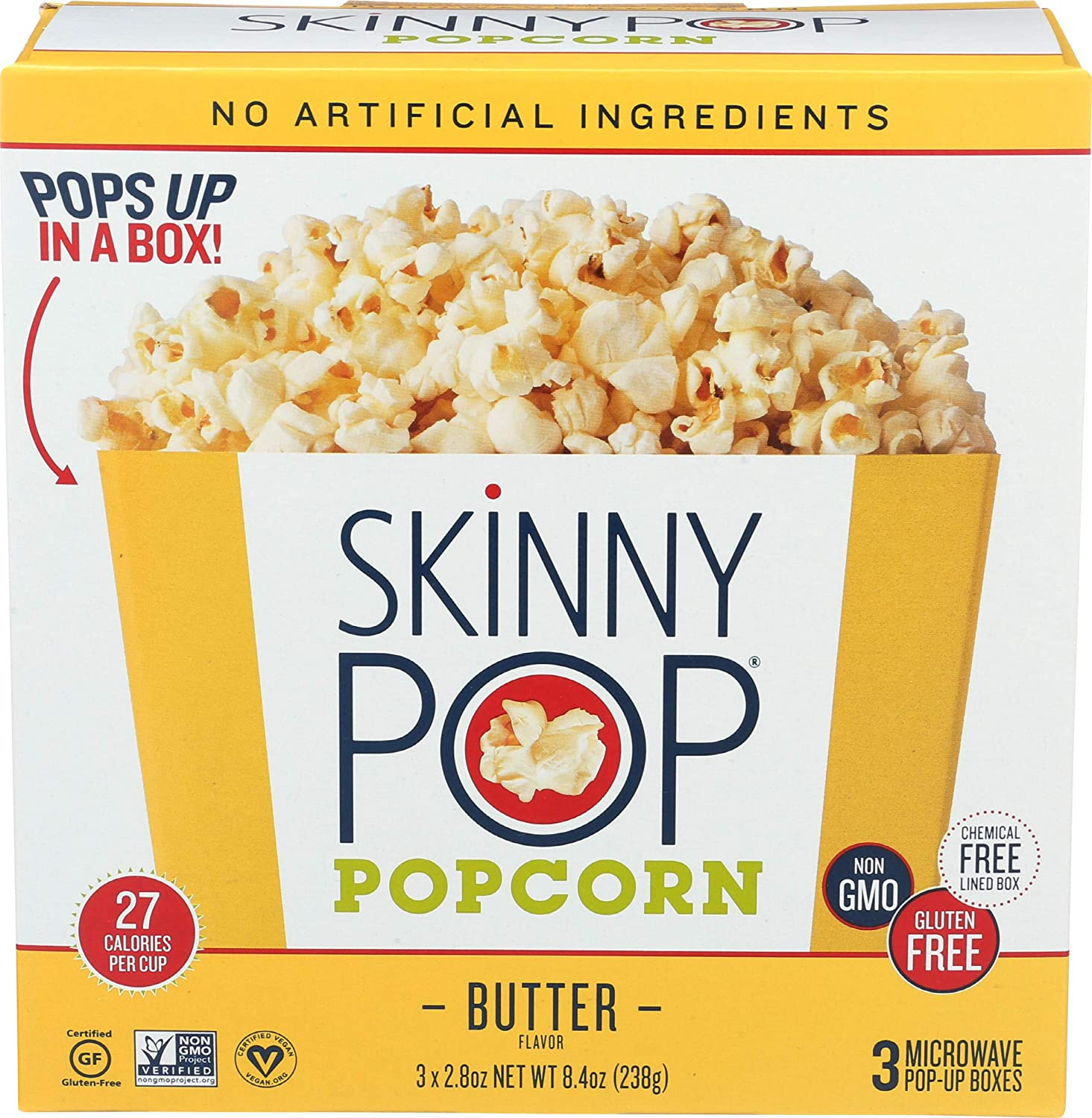 SKINNYPOP Butter Microwave Popcorn, Gluten Free Popcorn, Non-GMO, No Artificial Ingredients, A Delicious Source of Fiber, 8.4 Ounce