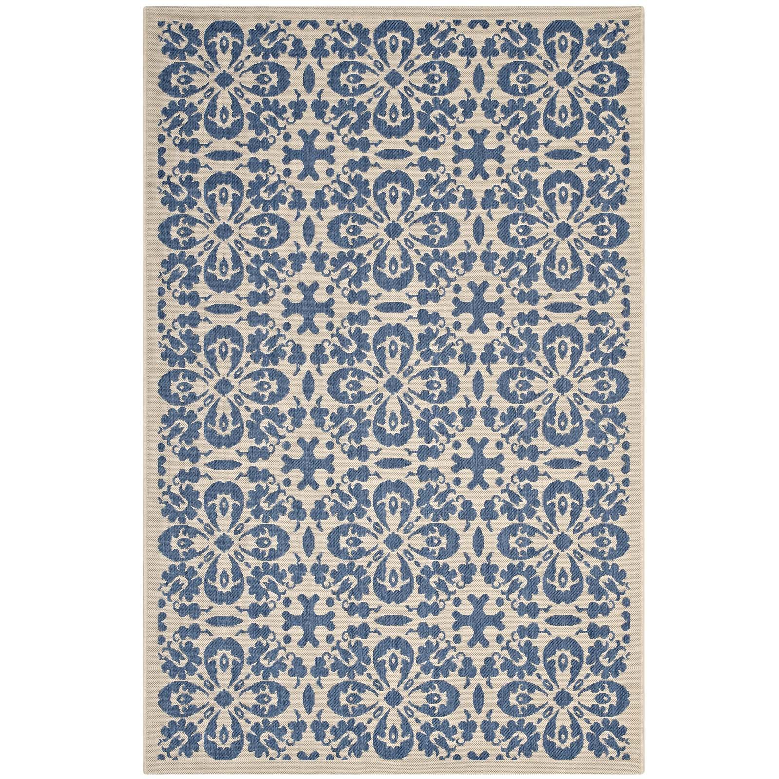 Modway R-1142C-810 Ariana Chevron with End Borders 8x10 Area Rug, Twin, Light and Dark Beige