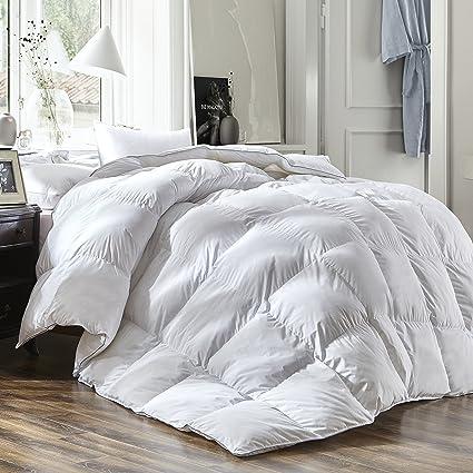 Amazon.com: Luxury Queen Size White Goose Down Feather Comforter
