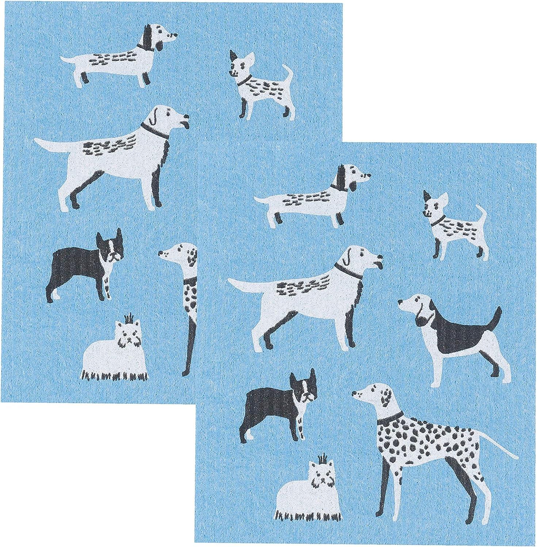 Amazon Com Now Designs Swedish Dishcloth Set Of 2 Dog Days 2 Count Home Kitchen